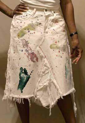 White Colorful Footprint Skirt